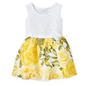 Toddler Sleeveless Pleated Dress, Lemon Drop